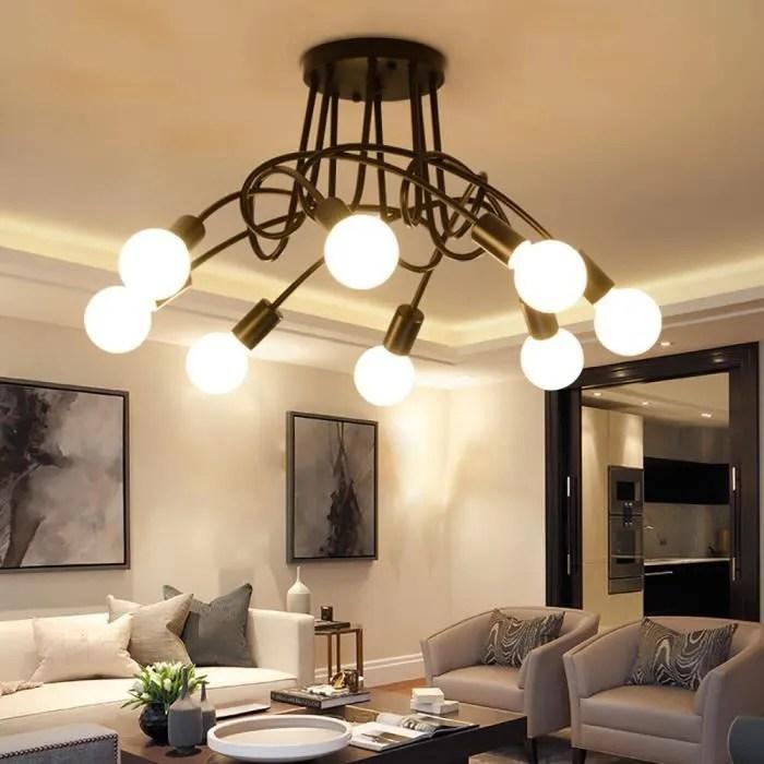 plafonnier luminaire 8 spots luminaire design moderne eclairage plafond lampe salon cuisine couloir chambre e27 noir