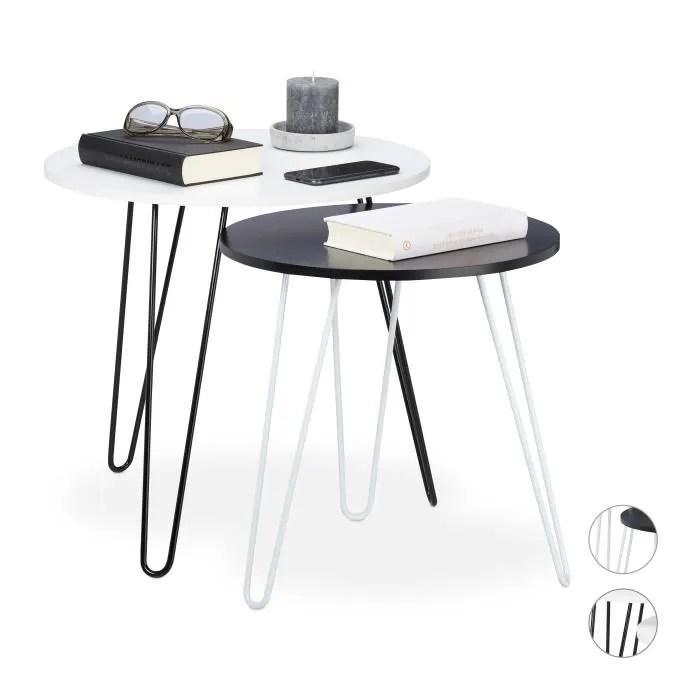 relaxdays table d appoint jeu de deux ronde table gigognes de salon blanche petite 3 pieds metalliques d 40et 48cm