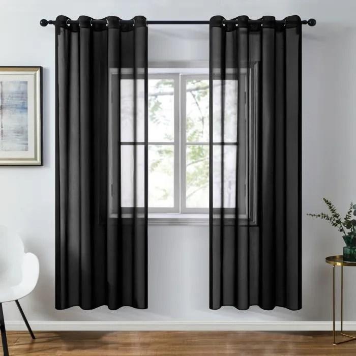 topfinel rideau voilage 140x180cm noir en chiffo