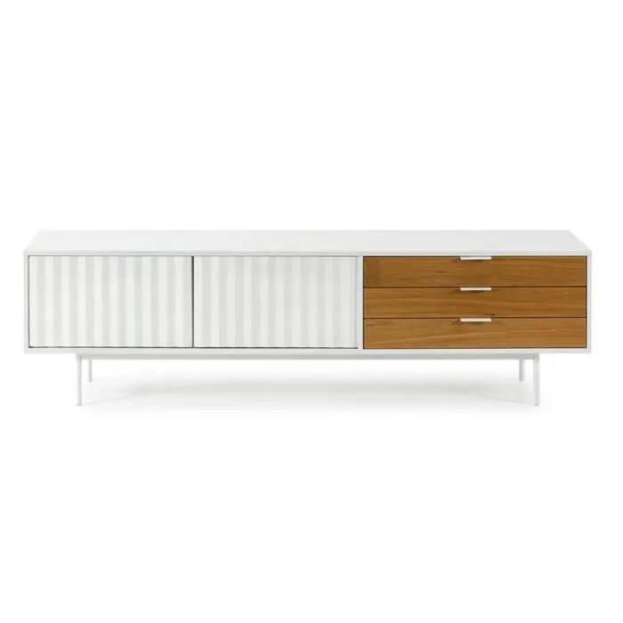 long meuble tv 2 portes 3 tiroirs blanc chene triny l 180 x l 40 x h 52