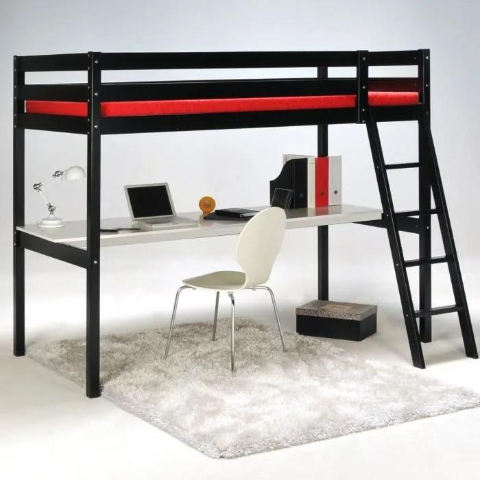 aspen lit 90x190cm mezzanine noir avec