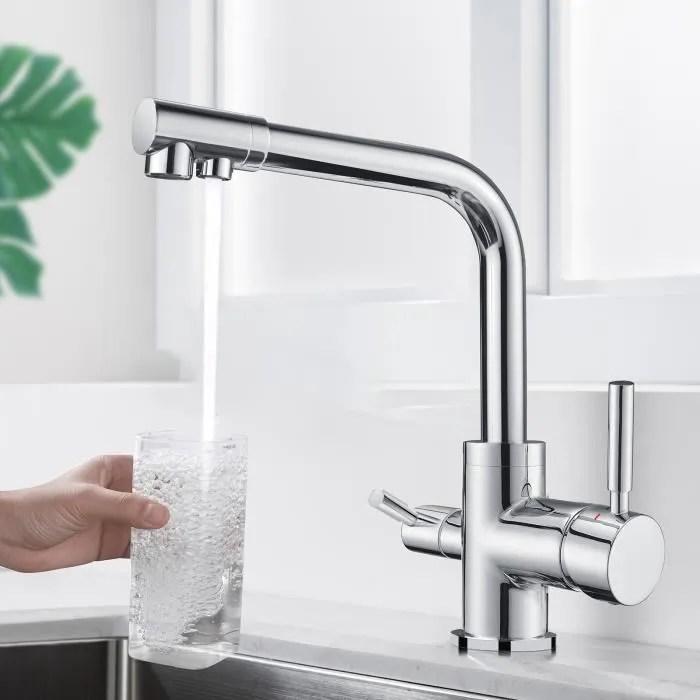 homelody robinet cuisine a 3 voies mitigeur evier avec 2 becs mitigeur cuisine pivotant 360 robinetterie cuisine a eau potable