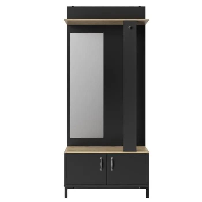 store meuble d entree 2 portes made in france decor chene sonoma et noir l 81 x h 190 x p 37 cm