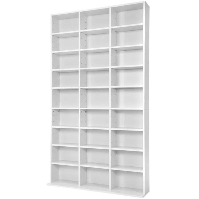 tectake meuble de rangement cd dvd 24 etageres modulables 102 cm x 180 cm x 23 5 cm blanc
