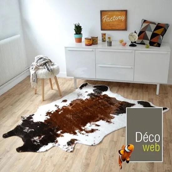 tapis peau de bete imitation vache design 150 x 210 cm
