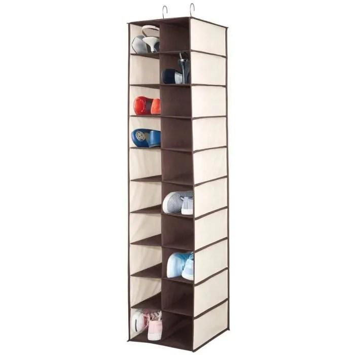 mdesign meuble suspendu avec 20 compartiments grand meuble de rangement pour la tringle de l armoire rangement chaussures et vet