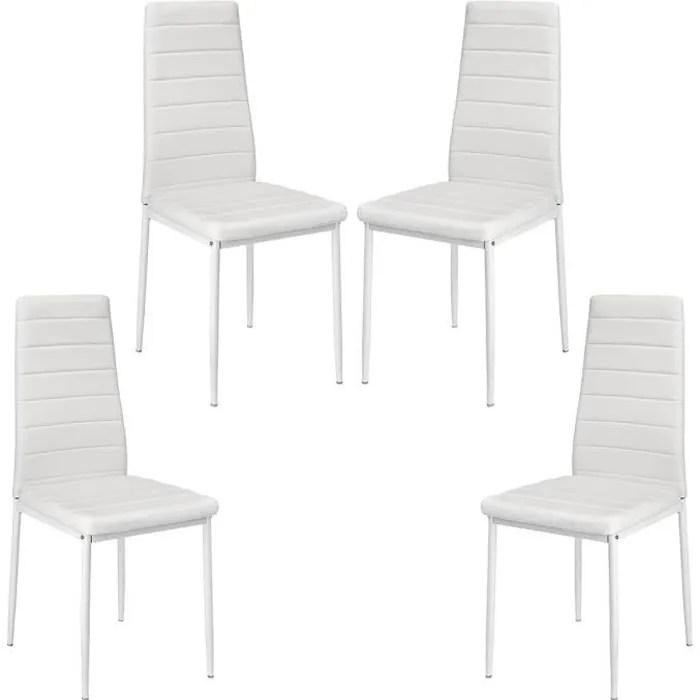 biling lot de 4 chaises salle a manger blanches