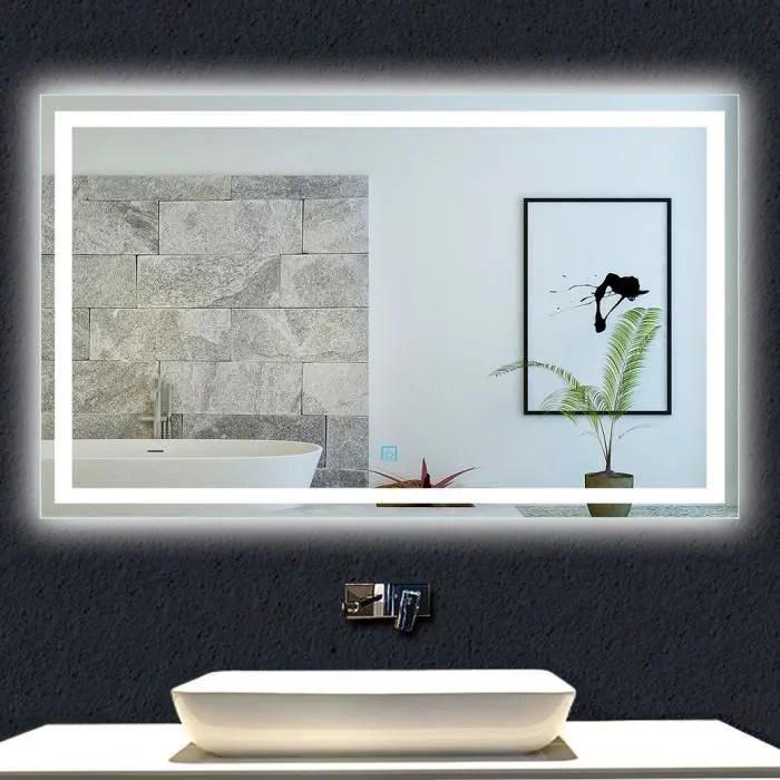 Miroir De Salle De Bain 100x70cm Anti Buee Miroir Mural Avec Eclairage Led Modele Carre Achat Vente Parois De Douche Porte De Douche Miroir De Salle De Bain 100 Cdiscount