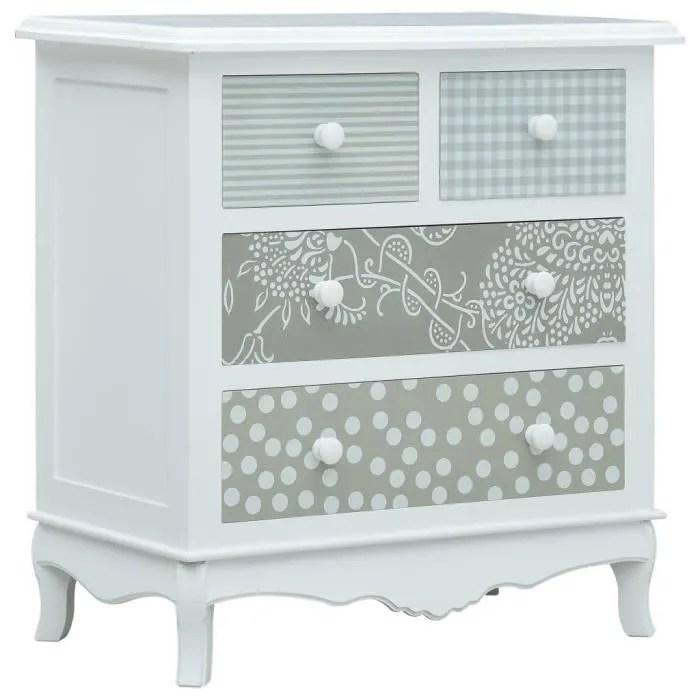 commode bahut buffet meuble de cuisine vaisselier meuble bas pour salle a manger salon couloir avec 4 tiroirs blanc et gris