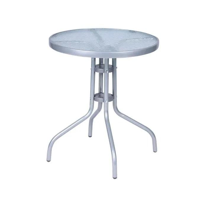 table bistrot ronde avec plaque de