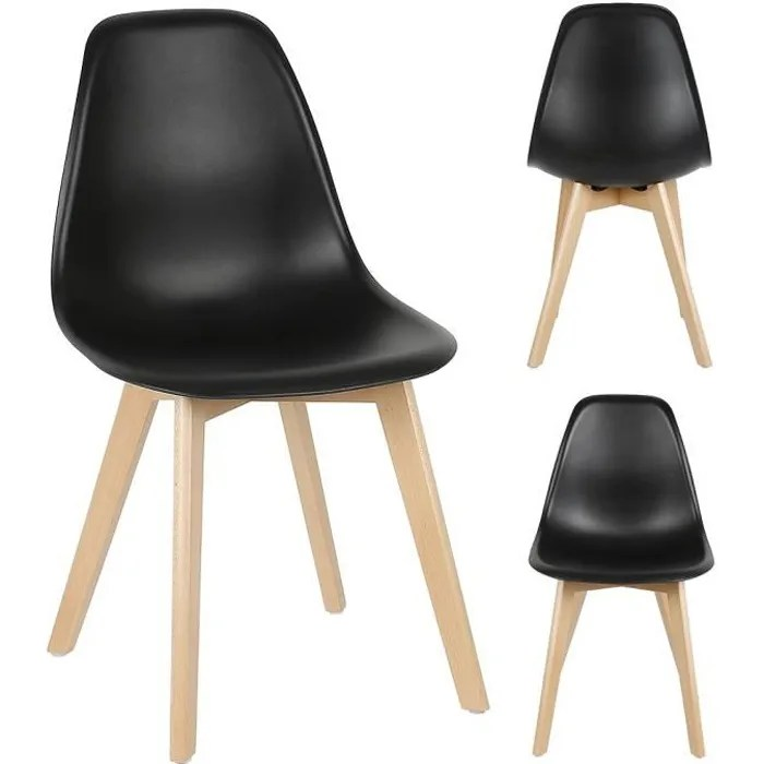 lot de 4 chaises scandinave pieds bois noir salle a manger cuisine salon
