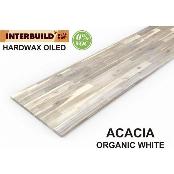 plans de travail en bois massif acacia interbuild 2200x635x26 mm blanc organique 1 piece paquet