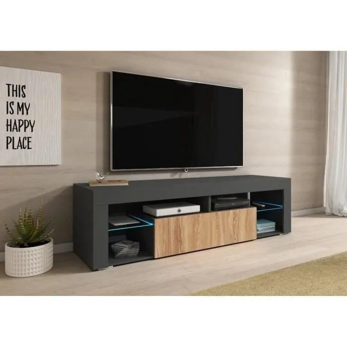 e com meuble tv titan avec led 140 cm anthrac