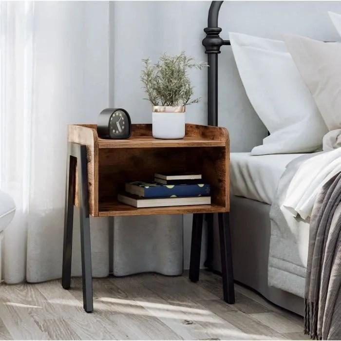 vasagle table de chevet vintage avec compartiment rustique 42 x 35 x 52 cm l x l x h pieds en metal table de nuit