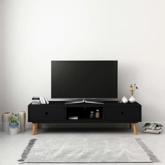 meuble tv brun noir