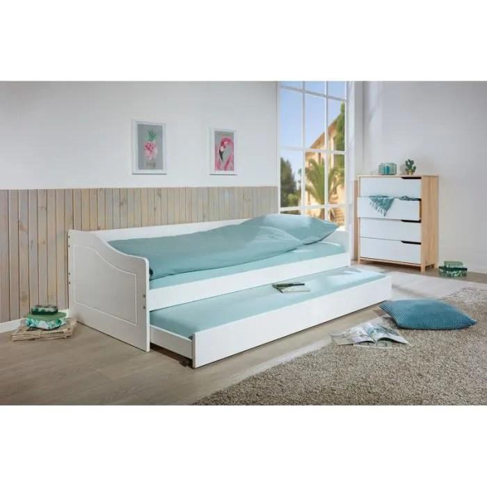 chambre lits rangements lit banquette malte avec tiroir de lit l 208 x l 97 x h 62 cm blanc
