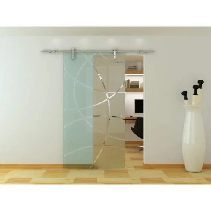 porte vitree interieur systeme coulissant en verre
