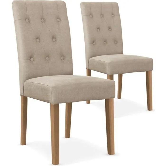 lot de 2 chaises cecil tissu beige