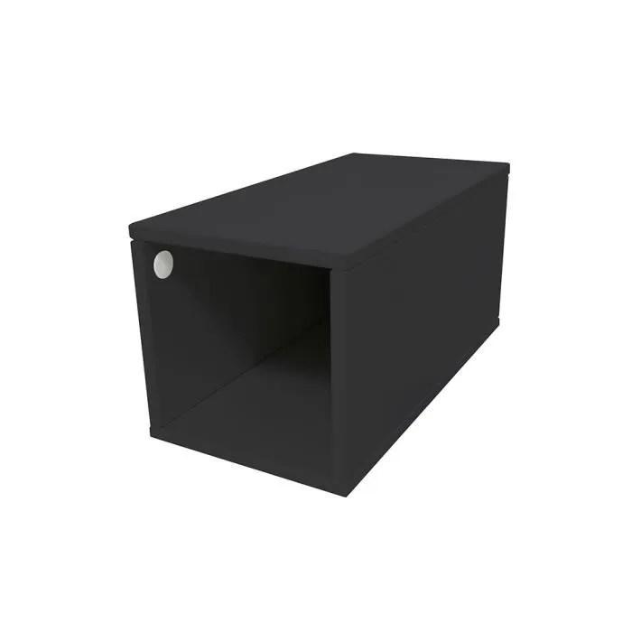 cube de rangement bois largeur 25 cm couleur noir dimensions 25x50
