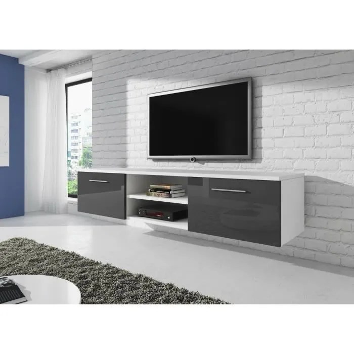 meuble tv blanc 150 cm