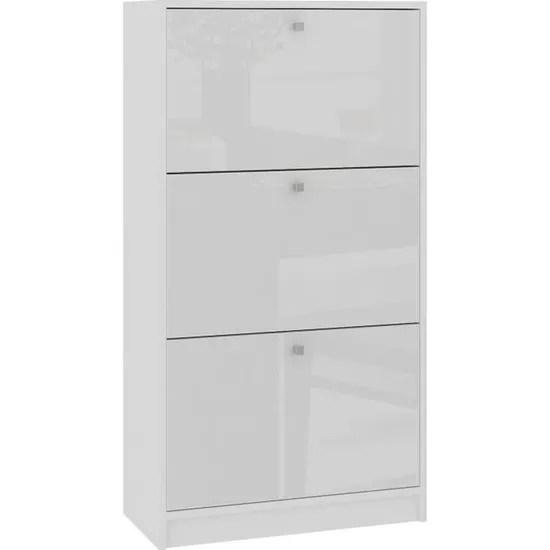 noki meuble d entree rangement chaussures 112 5x60x28 5cm 3 portes a rabat armoire range chaussures contemporain blanc laque