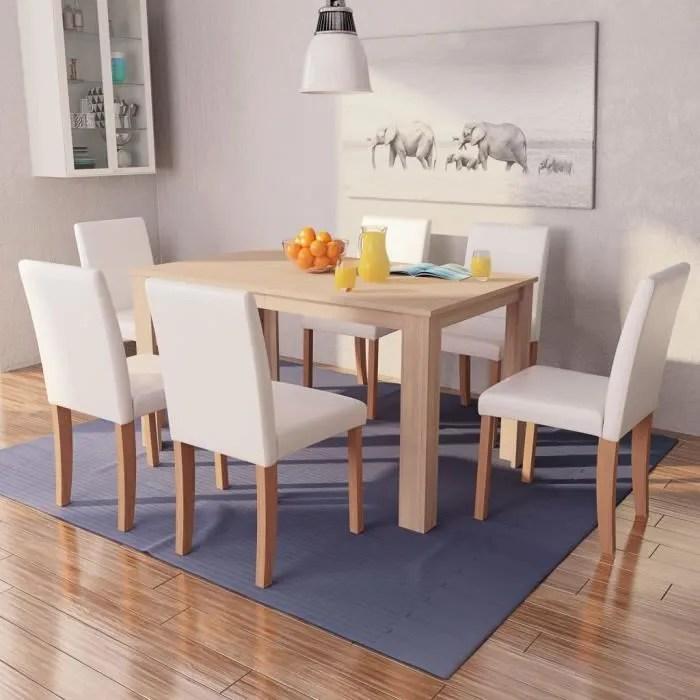 table a manger avec chaise 7 pcs en