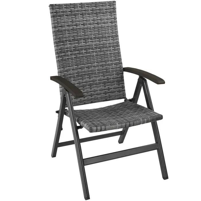 tectake chaise de jardin pliante reglable en aluminium et resine tressee 68 cm x 58 cm x 107 5 cm gris
