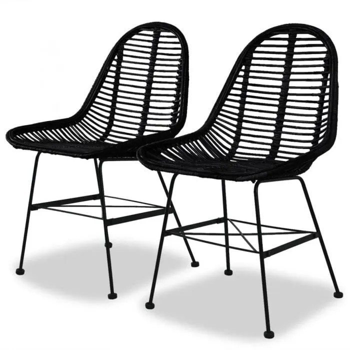 lot de chaises de salle a manger style contemporain scandinave chaise cuisine 2 pcs rotin naturel noir