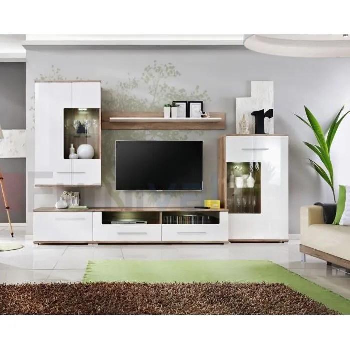 club unite murale style contemporain 5 pcs eclairage led inclus mur tv ensembles meubles salon meuble bas tv blanc chene