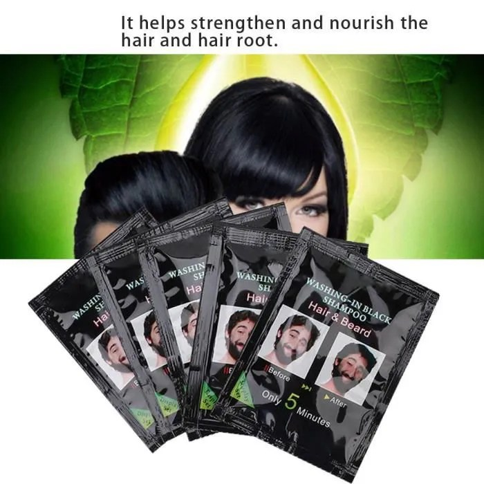 10 pcs naturel noir cheveux shampooing