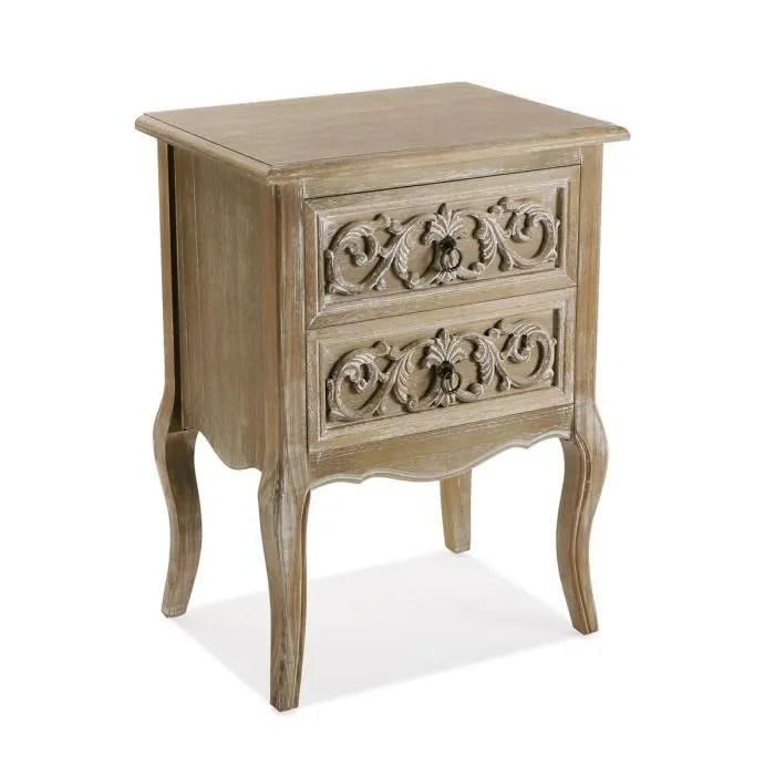 table de chevet 2 tiroirs finition chene clair l 48 x l 35 x h 66 cm