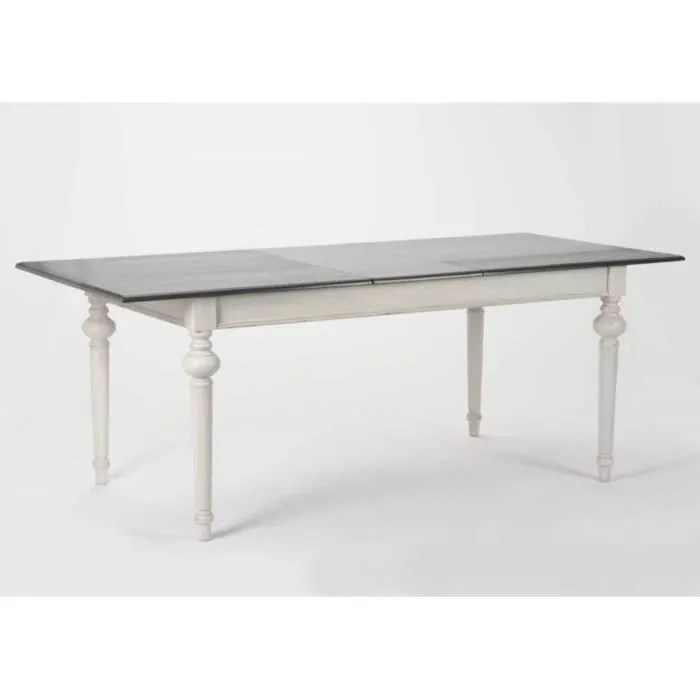 table rectangulaire grise a rallonge