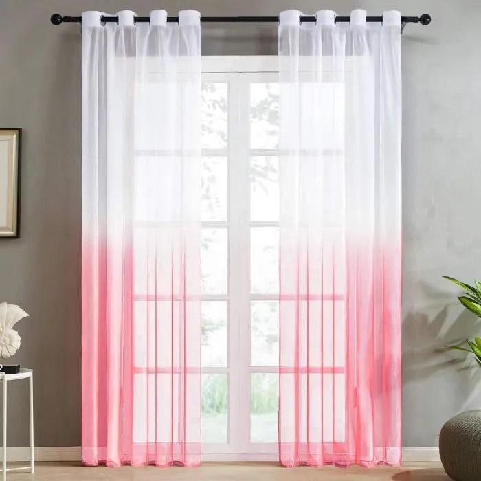 jupitte rideaux voilage blanc rouge voilage ombre degrade a oeillet 2 panneaux 140x240cm oeillet ramp rose achat vente voilage cdiscount