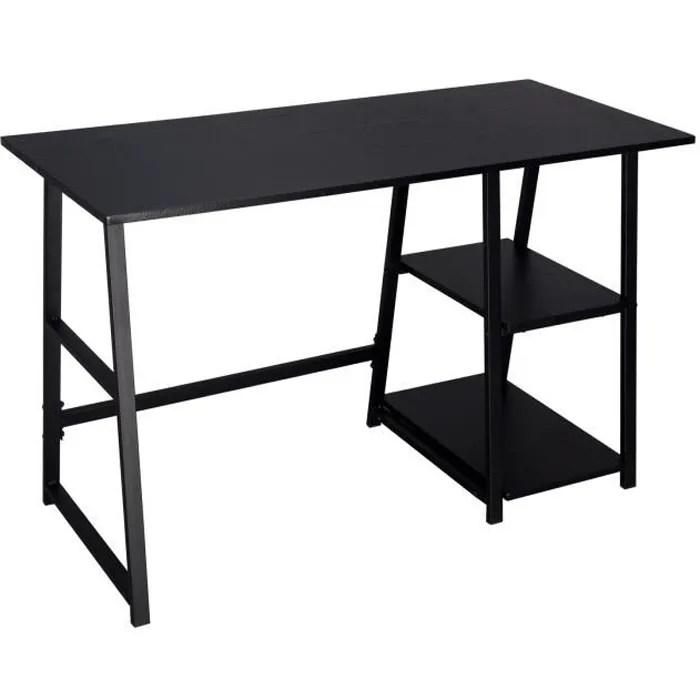 woltu table de bureau en acier et bois bureau d ordinateur avec 2 etageres table de travail 120x50x73 cm noir