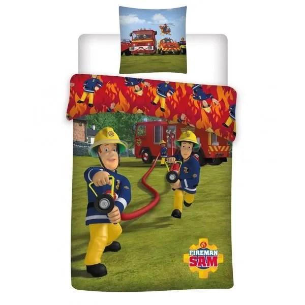 sam le pompier housse de couette 1 personne 140x200 cm 1 taie d oreiller 63x63 cm vert