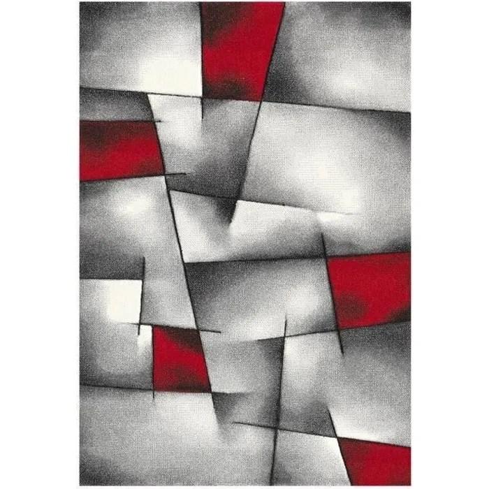 brillance tapis de salon rouge noir et gris 160 x 230 cm