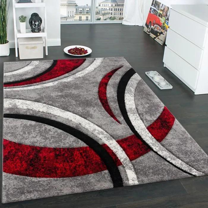 tapis design a contours motif ligne mouchete gris