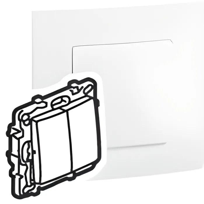 bouton poussoir double legrand niloe pur blanc