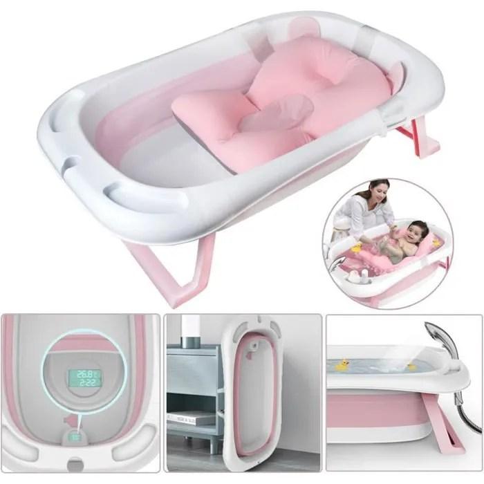 baignoire pliable bebe pliante evolutive oreiller coussin de baignoire avec thermometre sinbide
