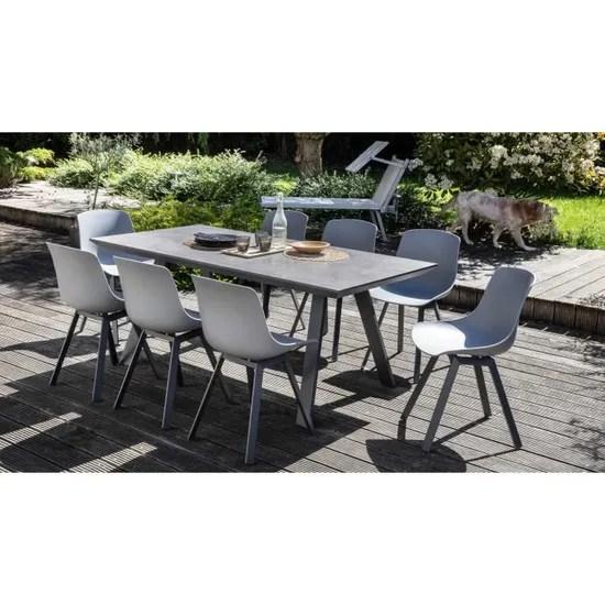 salon de jardin scandinave 1 table plateau ceramique 8 chaises ensemble de jardin 8 personnes ceramque