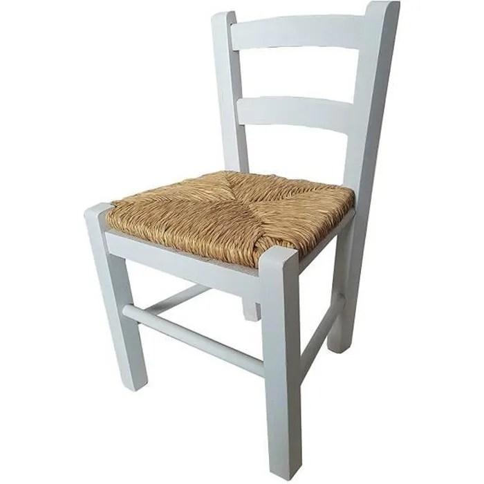sediolina petite chaise en bois avec siege en paille pour enfant blanc