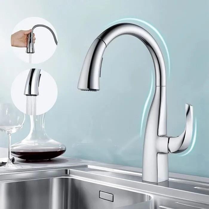 wowow robinet cuisine brillant douchette extractible mitigeur d evier avec 2 modes de jet mitigeur cuisine chrome rotatif a 360