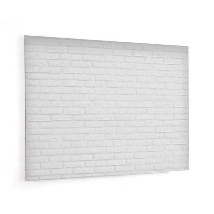 fond de hotte texture brique blanche en panneau composite aluminium l 90 x h 70 cm