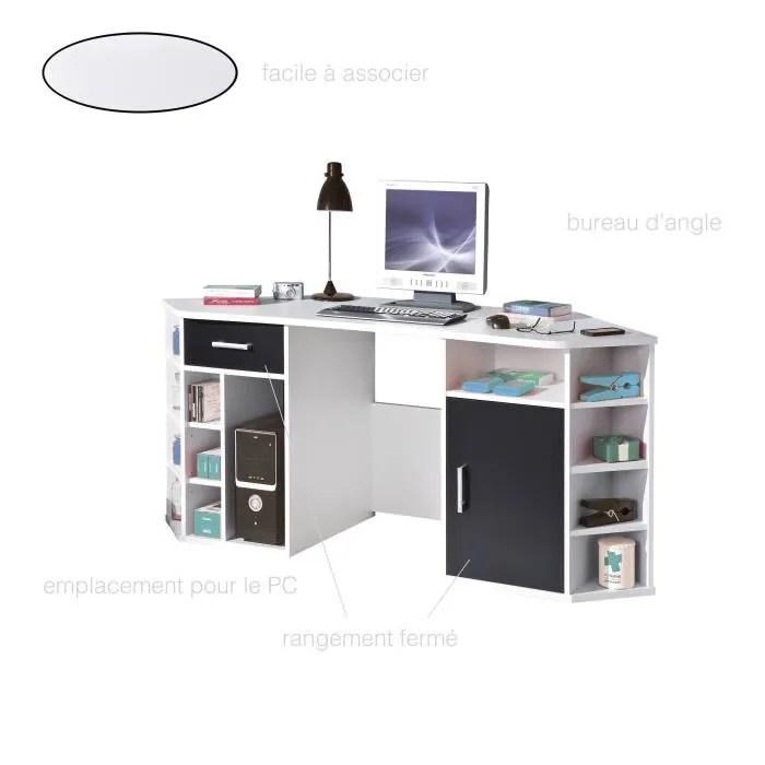 ordinateur rangement bureau angle blanc