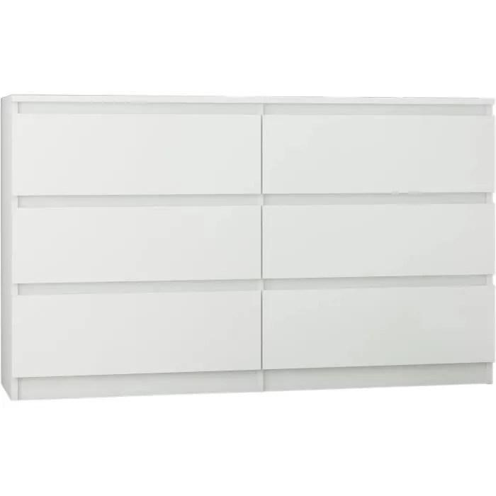 trogir commode contemporaine chambre salon bureau 120x30x76 6 tiroirs meuble de rangement scandinave d