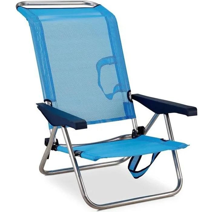 chaise plage lit positions en aluminium et textilene solenny
