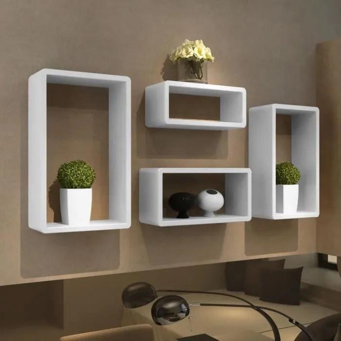 etagere bibliotheque design salon design murale 4 cubes blanc