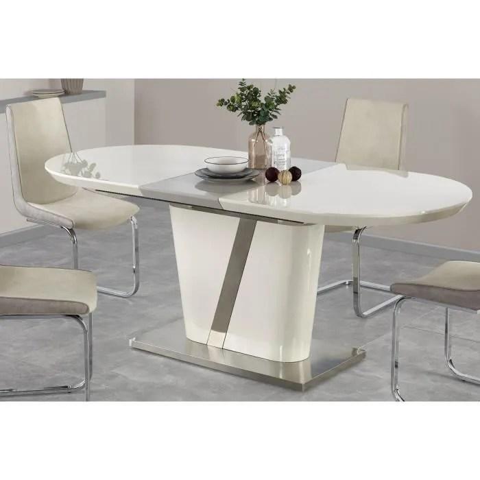 table a manger design extensible 160 200 90 76 cm creme gris