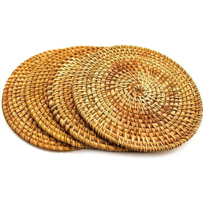 tapis chauds en rotin pour plats chauds pour table