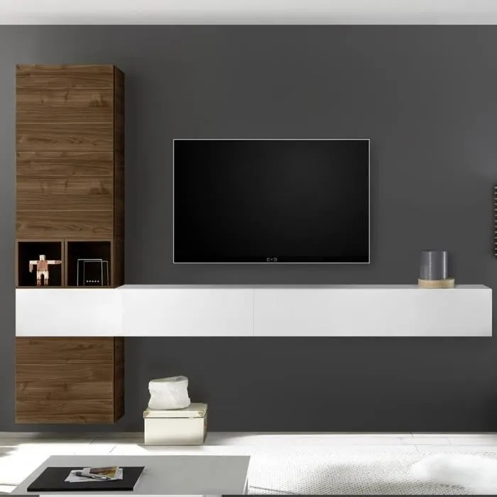 meuble tele suspendu couleur noyer et blanc laque